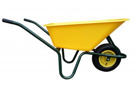тачка LIVEX 100 л, надувное колесо, в сборе - пластмассовый кузов желтая, грузоподъёмность 100 кг